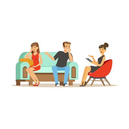 Unhappy family couple characters talking to female psychologist about their problems, psychotherapy counseling, psychologist having session with patient vector Illustration