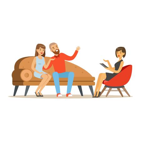 De jonge karakters die van het familiepaar aan vrouwelijke psycholoog over hun problemen, psychotherapie het adviseren spreken, psycholoog die zitting met geduldige vectorillustratie hebben