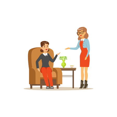 Female patient character talking to psychologist about problems, psychotherapy counseling, psychologist having session with patient vector Illustration