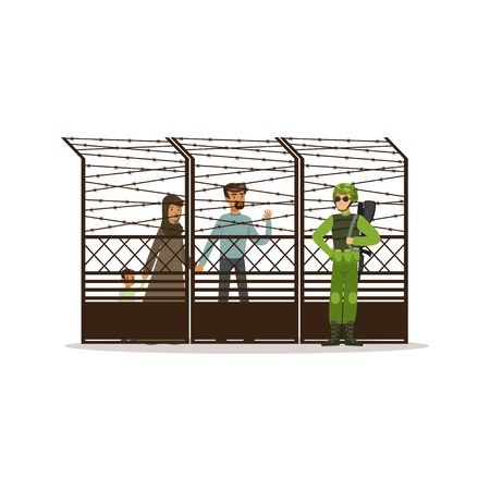 Stateless refugee family facing the barbed wire fence, refugee camp, war victims concept vector Illustration