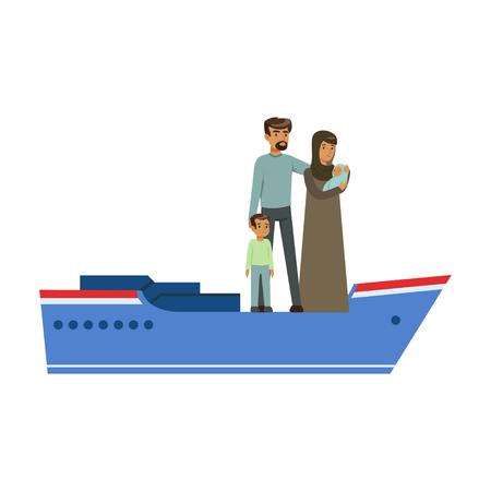 Stateless refugee family on a boat, illegal migration, war victims concept vector Illustration Illustration
