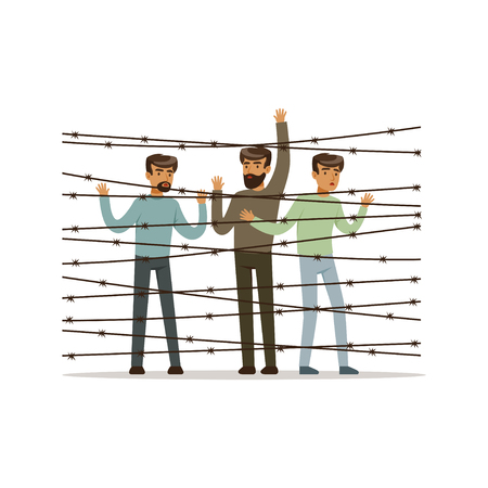 Staatloze vluchtelingen die de prikkeldraadomheining onder ogen zien, vluchtelingskamp, ??het concepten vectorillustratie van oorlogsslachtoffers