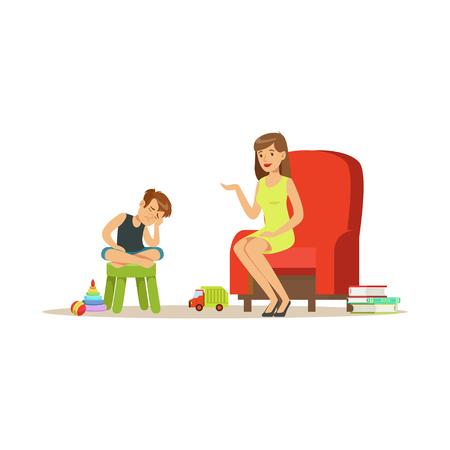 Jongen die aan kindpsycholoog over problemen spreken, psychotherapie het adviseren, psycholoog die zitting met geduldige vectorillustratie hebben