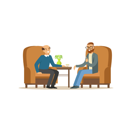 Smiling male patient character talking to male psychologist about problems, man dealing with stress, psychologist having session with patient vector Illustration