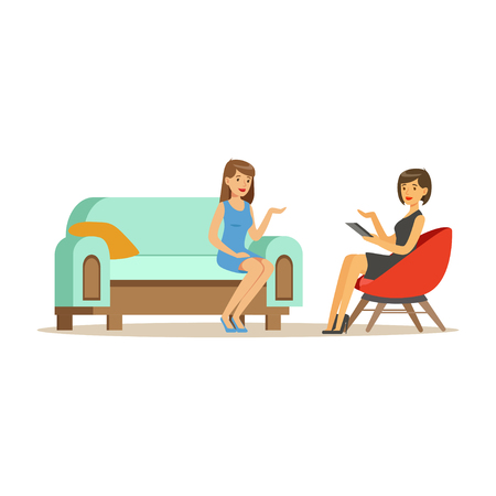 Beautiful female patient character talking to female psychologist about problems, woman dealing with stress and addiction, psychologist having session with patient vector Illustration