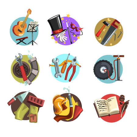 Colorful icons with symbols of different professions set, professional tools vector Illustrations