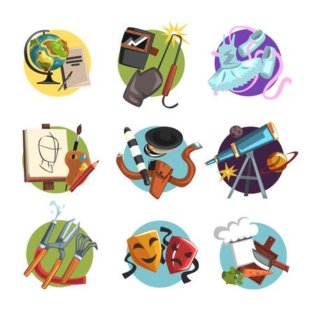 Symbols of different professions icons set, professional tools vector Illustrations Illusztráció
