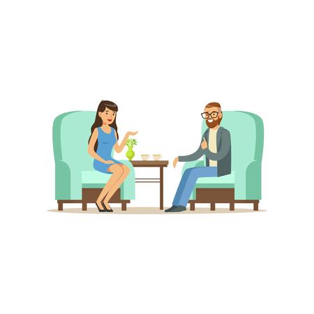 Mooi vrouwelijk geduldig karakter die aan mannelijke psycholoog over problemen, psychotherapie het adviseren spreken, psycholoog die zitting met geduldige vectorillustratie hebben Stock Illustratie