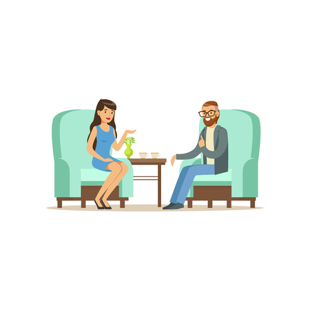 Beautiful female patient character talking to male psychologist about problems, psychotherapy counseling, psychologist having session with patient vector Illustration