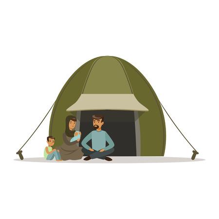 Staatloze vluchtelingsfamilie die in een kamp, sociale hulp voor vluchtelingen vectorIllustratie leven