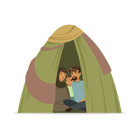 Stateless refugee family living in a camp, social assistance for refugees vector Illustration Çizim