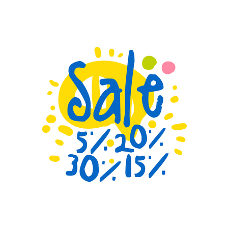 Sale 5, 15, 20, 30 percent off template, special offer label, banner, advertising badge or sticker tag colorful hand drawn vector Illustration Illustration