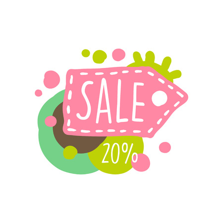 Sale 20 percent off colorful, special offer label, banner, advertising badge or sticker tag hand drawn vector Illustration
