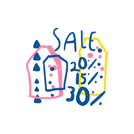Sale 15, 20, 30 percent off template, special offer label, banner, advertising badge or sticker tag colorful hand drawn vector Illustration