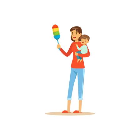 Super moederkarakter met kind, het stof schoonmaken Stock Illustratie