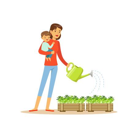 子、花の水やりを持つスーパーママ文字