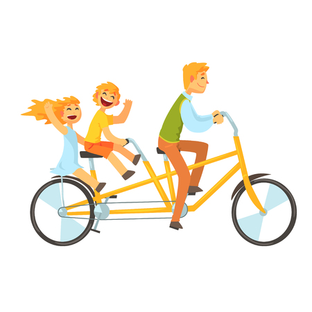 Father and children riding on tandem bicycle