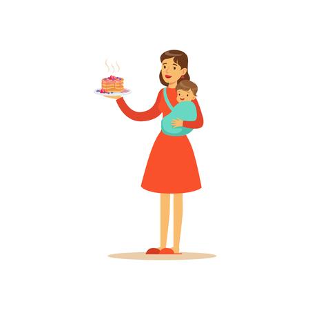 Super mom character with child, holding cake Ilustração