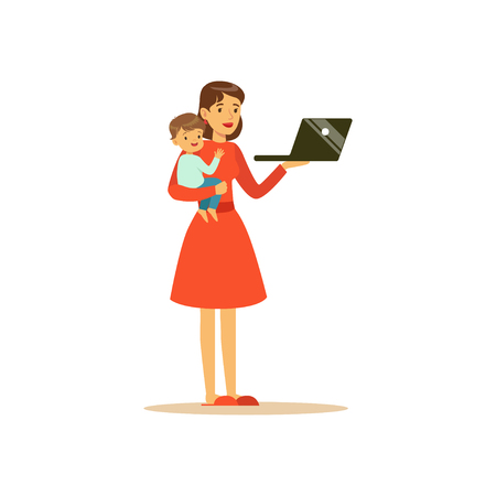 Super mom character with child, holding laptop