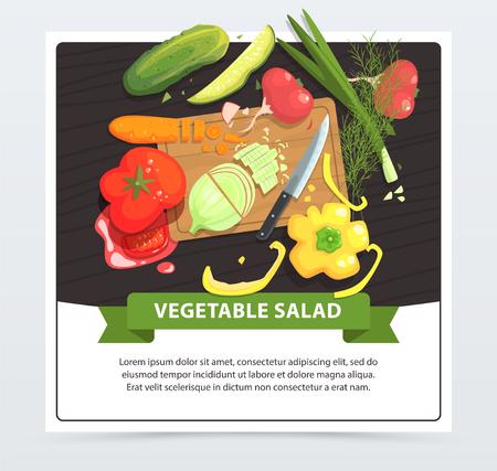ヘルシーな野菜サラダの図。食材きゅうり、大根、唐辛子、玉ねぎ、ディル、トマト、ニンジン木製のまな板で調理。ビーガンのおかずレシピ。生  イラスト・ベクター素材