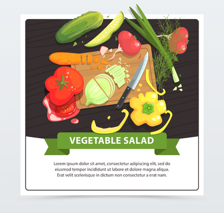 Healthy vegetable salad illustration. Ingredients cucumber, radish, pepper, onion, dill, tomato, carrot. Cooking on wooden cutting board. Vegan side dish recipe. Raw food diet Dining table top view