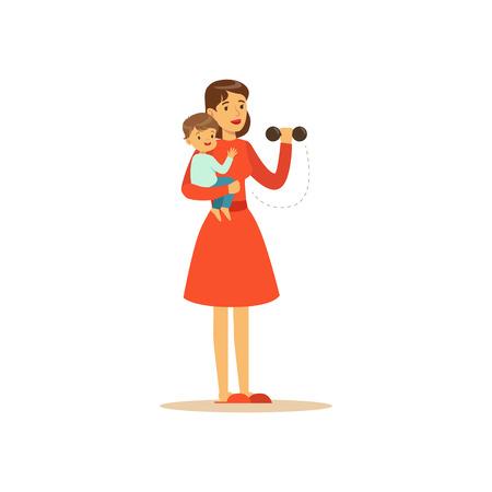 플랫 슈퍼 엄마 문자입니다. 소녀 dumbbells와 운동을 하 고입니다. 해피 어머니가 그녀의 무기 그녀의 아기와 함께. 부모와 어머니. 자식 돌보는 여자. 벡
