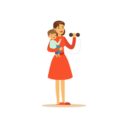 Flat super mom character. Girl doing exercises with dumbbells. Happy mother with her baby in her arms. Parenthood and motherhood. Caring woman with child. Vector illustration isolated on white.