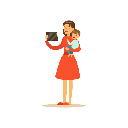 Flat super mom character, holding the tablet. Happy mother with her baby in her arms. Parenthood and motherhood. Modern technologies. Caring woman with child. Vector illustration isolated on white. Çizim