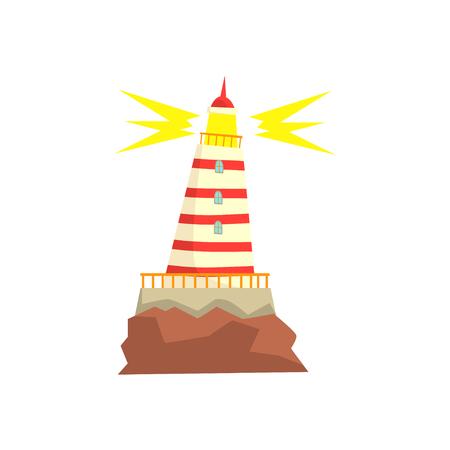 Gestreepte rode en witte vuurtoren cartoon vector illustratie