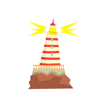 Striped red and white lighthouse cartoon vector Illustration