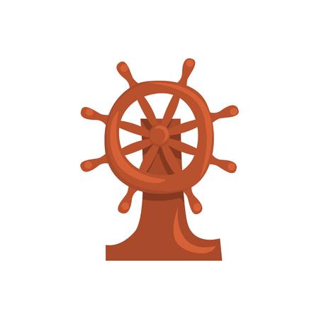 Wooden steering wheel of a ship cartoon vector Illustration