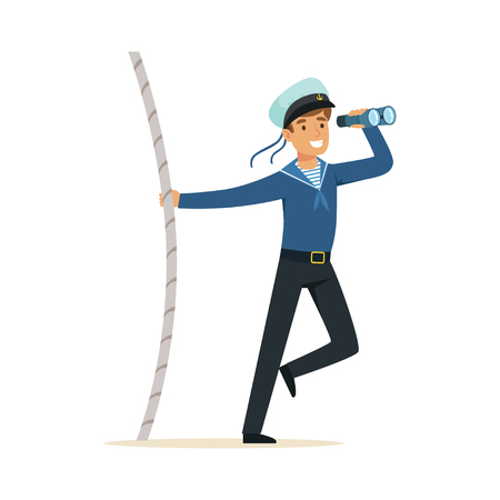Sailor man character in blue uniform looking through spyglass vector Illustration Illustration