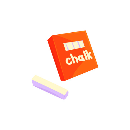 Red chalk box, sticks of white chalk cartoon vector Illustration Иллюстрация