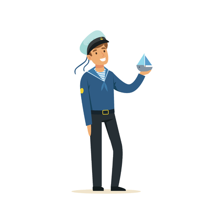 Sailor man character in blue uniform holding small boat vector Illustration