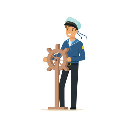 Sailor man character in blue uniform gripping wooden ship wheel vector Illustration Illustration
