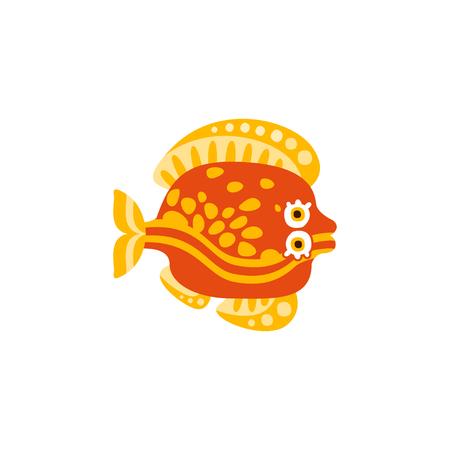 Cute flounder fish hand drawn vector Illustration