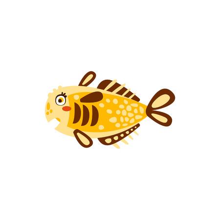 Cute yellow fish hand drawn vector Illustration