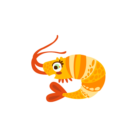 Cute shrimp sea creature hand drawn vector Illustration