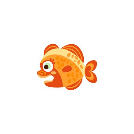 Cute funny orange fish hand drawn vector Illustration