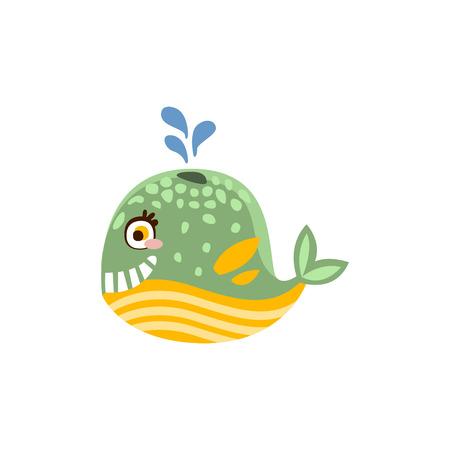 Funny whale sea creature hand drawn vector Illustration