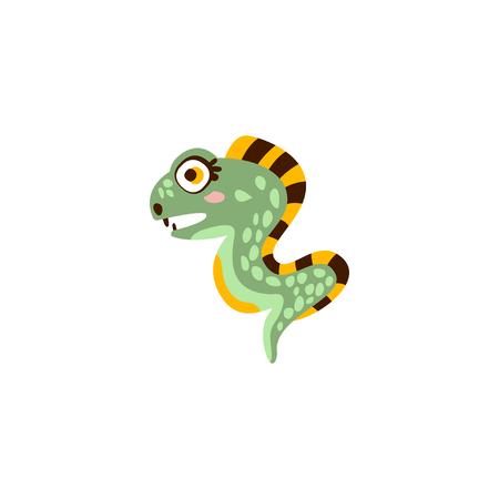 Cute eel fish, funny sea creature hand drawn vector Illustration Ilustração