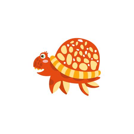 Cute turtle, funny sea creature hand drawn vector Illustration Illustration