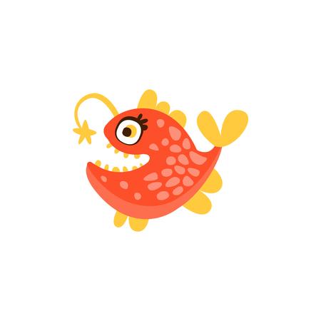 Angler fish, funny sea creature hand drawn vector Illustration 向量圖像