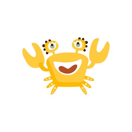 귀여운 노란색 크랩, 재미있는 바다 생물 손으로 그린 벡터 일러스트 레이션 일러스트