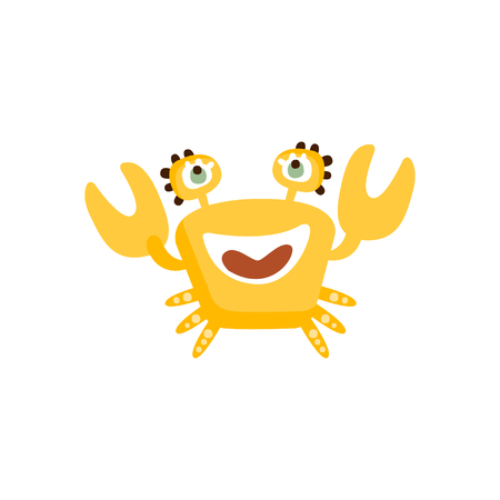 Cute yellow crab, funny sea creature hand drawn vector Illustration 向量圖像