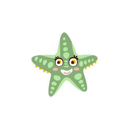 Cute starfish, sea creature hand drawn vector Illustration