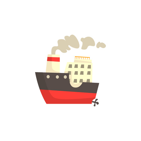 Ship with steam vector Illustration