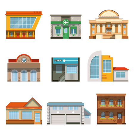 Store shop front window buildings icon set flat isolated
