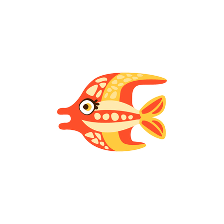Cute funny colorful fish hand drawn vector Illustration