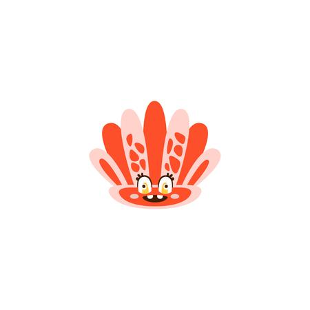 かわいい seahell、面白い海の生き物手描きの背景イラスト  イラスト・ベクター素材